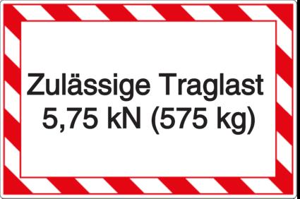 Vorlage: Zulässige Traglast 5,75 kN (575 kg)