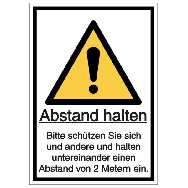 Vorlage: Abstand halten - Bitte schützen Sie sich und andere und halten untereinander einen Abstand von 2 Metern ein.