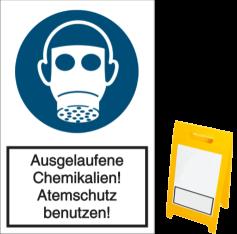 Vorlage: Ausgelaufene Chemikalien! Atemschutz benutzen!