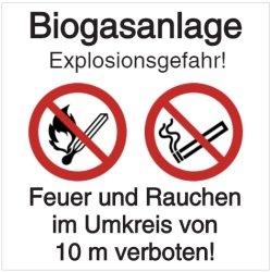Vorlage: Biogasanlage- Explosionsgefahr - Feuer und Rauchen im Umkreis von 10 m verboten!