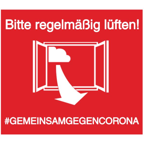 Vorlage: Bitte regelmäßig lüften! #GEMEINSAMGEGENCORONA