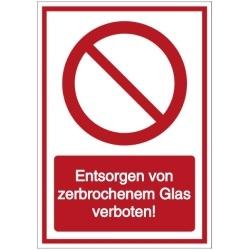Vorlage: Entsorgen von zerbrochenem Glas verboten!