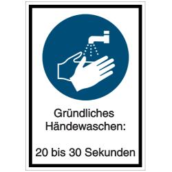 Vorlage: Gründliches Händewaschen: 20 bis 30 Sekunden