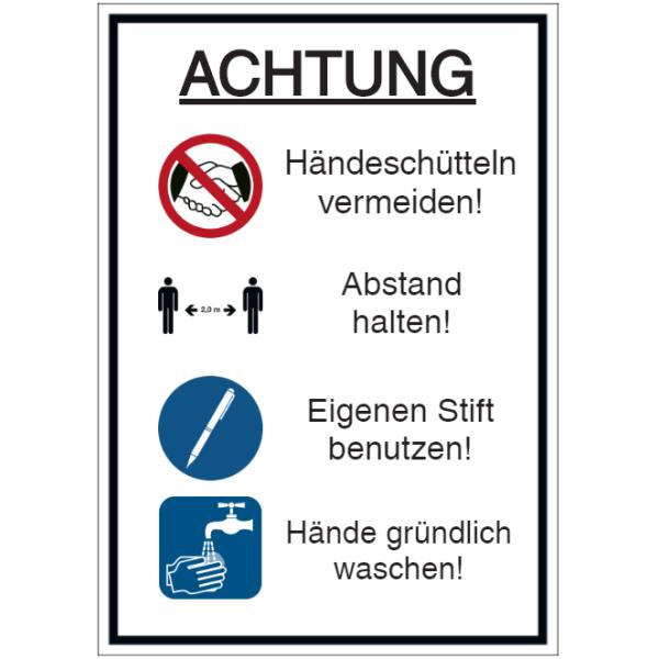 Vorlage: Händeschütteln vermeiden - Abstand halten - Eigenen Stift benutzen - Hände gründlich waschen