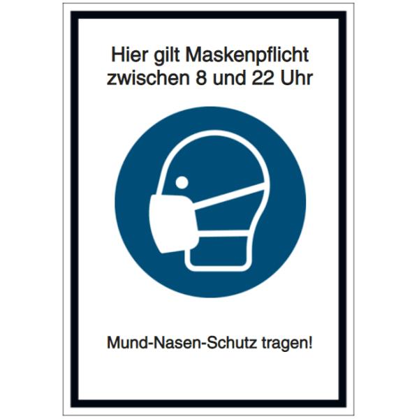 Vorlage: Hier gilt Maskenpflicht zwischen 8 und 22 Uhr - Mund-Nasen-Schutz tragen!