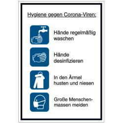 Vorlage: Hygiene gegen Corona-Viren: Hände regelmäßig waschen – Hände desinfizieren - In den Ärmel husten und niesen - Große Menschenmassen meiden