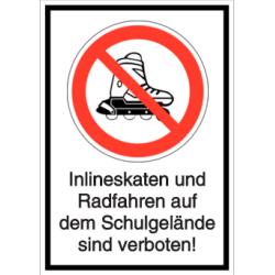 Vorlage: Inlineskaten und Radfahren auf dem Schulgelände sind verboten!
