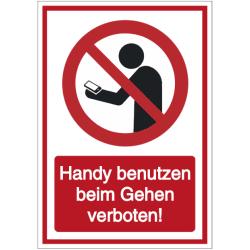 Vorlage: Kombi-Schild Handy benutzen beim Gehen verboten!