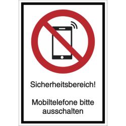 Vorlage: Kombi-Verbotsschild Sicherheitsbereich! Mobiltelefone bitte ausschalten