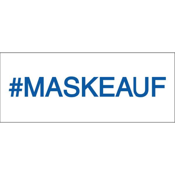 """Vorlage: #maskeauf - """"Mach mit"""" Aufkleber, 10 cm x 4 cm"""