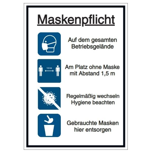 Vorlage: Maskenpflicht - Auf dem gesamten Betriebsgelände - Am Platz ohne Maske - Hygiene beachten