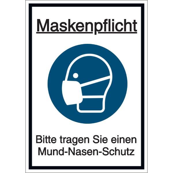 Vorlage: Maskenpflicht - Bitte tragen Sie einen Mund-Nasen-Schutz