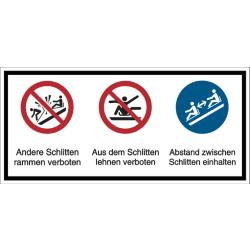 Vorlage: Mehrsymbol-Schild Andere Schlitten rammen verboten - Aus dem Schlitten lehnen verboten - Abstand zwischen den Schlitten einhalten