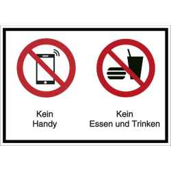 Vorlage: Mehrsymbol-Schild Kein Handy - Kein Essen und Trinken