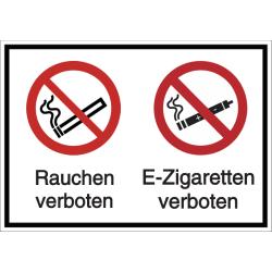 Vorlage: Mehrsymbol-Schild Rauchen / E-Zigaretten verboten