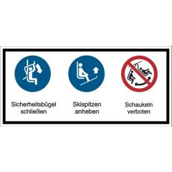 Vorlage: Mehrsymbol-Schild Sicherheitsbügel schließen - Skispitzen anheben - Schaukeln verboten