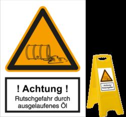 Vorlage: Rutschgefahr durch ausgelaufenes Öl
