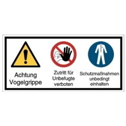 Vorlage: Mehrsymbol-Schilder-Vorlage: Achtung Vogelgrippe, Zutritt für Unbefugte verboten, Schutzmaßnahmen...