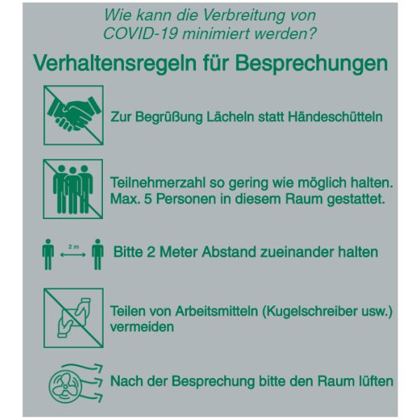 Vorlage: Verhaltensregeln für Besprechungen: Lächeln statt Händeschütteln - Teilnehmerzahl gering halten - 2 Meter Abstand halten - Teilen von Arbeitsmitteln vermeiden - Raum nach Besprechung lüften