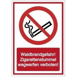 Vorlage: Waldbrandgefahr! Zigarettenstummel wegwerfen verboten!