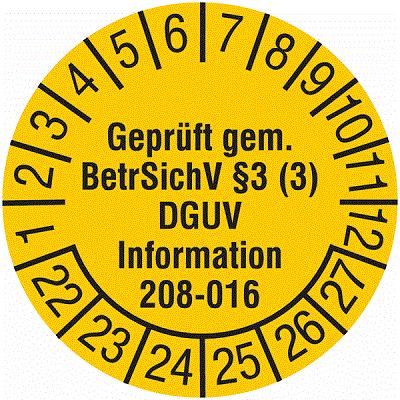 Plakette Geprüft gem. BetrSichV §3 (3) DGUV Information 208-016