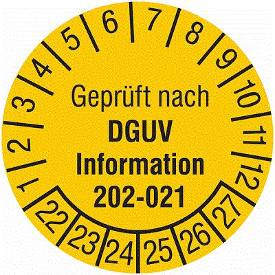 Plakette Geprüft nach DGUV Information 202-021