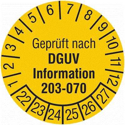 Plakette Geprüft nach DGUV Information 203-070