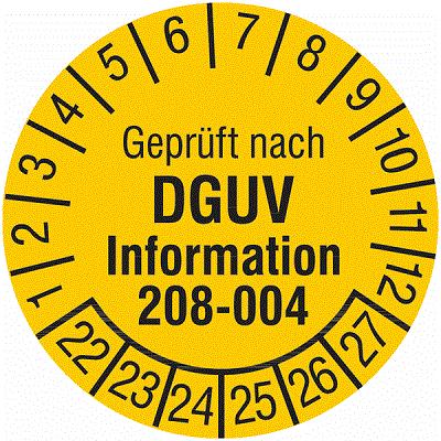 Plakette Geprüft nach DGUV Information 208-004
