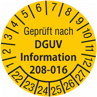 Plakette Geprüft nach DGUV Information 208-016