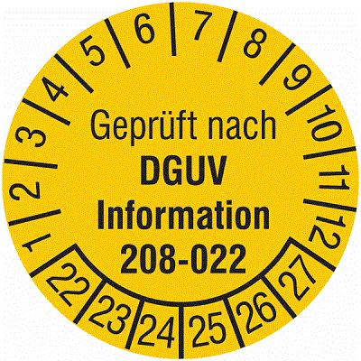 Plakette Geprüft nach DGUV Information 208-022