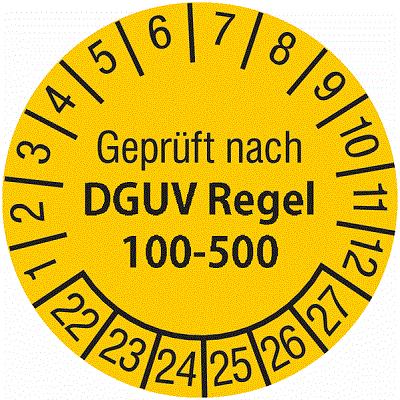 Plakette Geprüft nach DGUV Regel 100-500