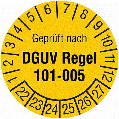 Plakette Geprüft nach DGUV Regel 101-005