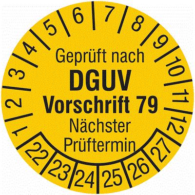 Plakette Geprüft nach DGUV Vorschrift 79 Nächster Prüftermin