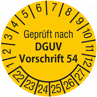 Plakette Geprüft nach DGUV Vorschrift 54