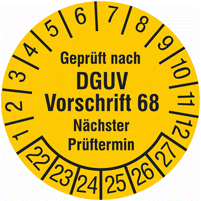 Plakette Geprüft nach DGUV Vorschrift 68 Nächster Prüftermin