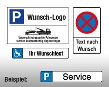 Individuelle Parkplatzschilder
