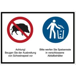 Vorlage: Beugen Sie der Ausbreitung von Schweinepest vor - Abfallbehälter benutzen
