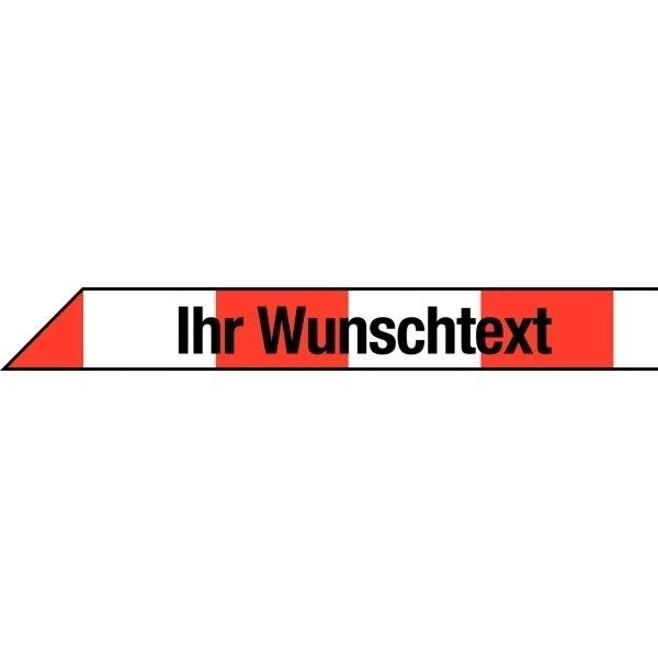 Absperrbänder mit Text nach Wunsch, Rot/Weiß