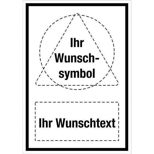 Kombi-Schilder mit Symbol und Text nach Wunsch, alte Norm, praxiserprobt