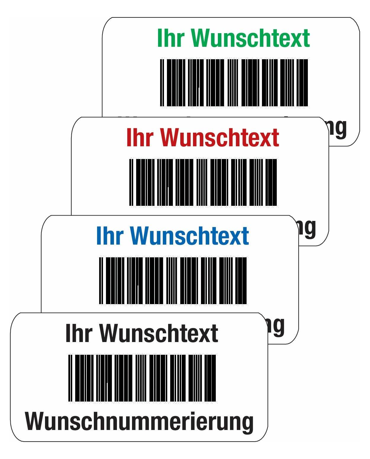 Barcode-Etiketten mit Text und Nummerierung nach Wunsch, PVC