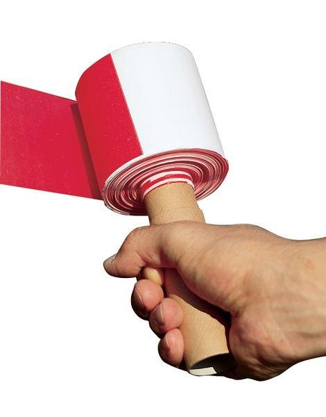 Absperrbänder blanko, Rot/Weiß, mit Abroller