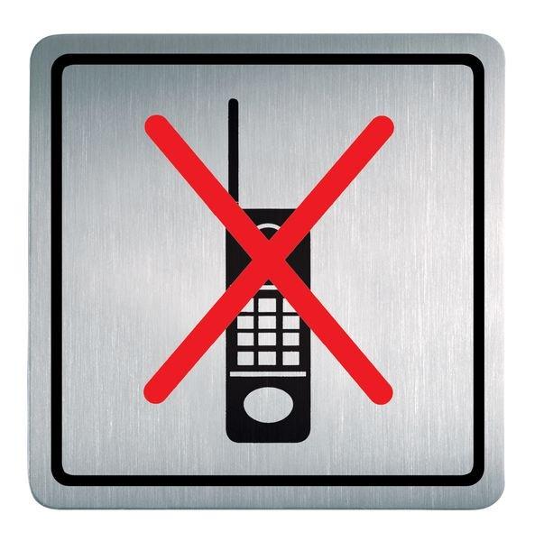 Handyverbot - Piktogrammschilder aus Edelstahl, viereckig, selbstklebend