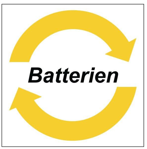 Batterien - System-Wertstoffkennzeichnungen, Symbol und Text