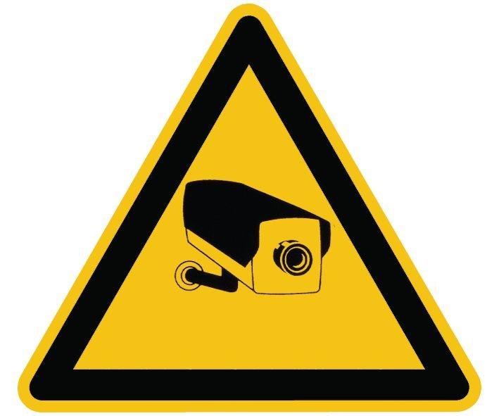 """Warnzeichen-Schilder mit Piktogramm """"Überwachungskamera"""""""