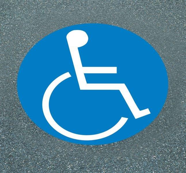 Parkplatz für Rollstuhlfahrer– Asphaltfolien zur Parkplatzkennzeichnung, R10 nach DIN 51130/ASR A1.5/1,2