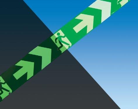 Markierungsbänder zur Boden-Fluchtwegkennzeichnung, langnachleuchtend