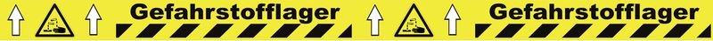 Warnung vor ätzenden Stoffen - Bodenmarkierbänder für Gefahrstofflager, staplergeeignet