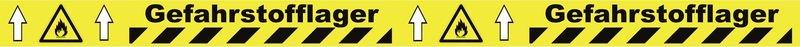 Warnung vor feuergefährlichen Stoffen - Bodenmarkierbänder für Gefahrstofflager, staplergeeignet