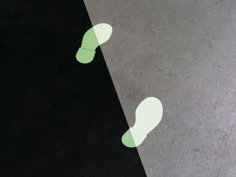 Everglow® Bodenmarkierung Fußabdruck - Fluchtwegkennzeichnung, bodennah, langnachleuchtend, ASR A3.4/3