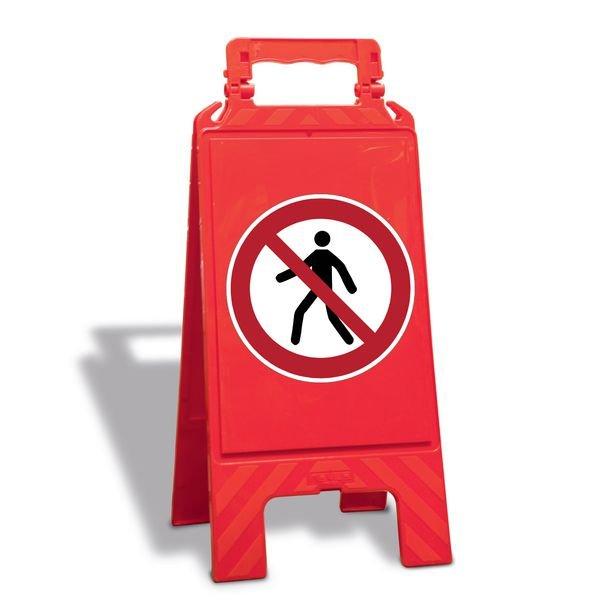 Für Fußgänger verboten - Warnaufsteller mit Sicherheitssymbolen, ASR A1.3-2013, DIN EN ISO 7010